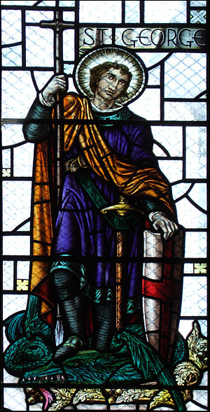 Saint George's Day in England - Saint George depicted in a stained glass window in the St Mary the Virgin's Church, South Darley, Derbyshire.