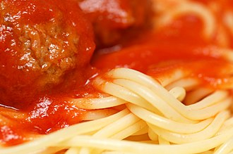 Spaghetti with meatballs - Close-up view of spaghetti with meatballs