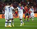 Spain - Chile - 10-09-2013 - Geneva - Eduardo Vargas celebrating with Mauricio Isla, Arturo Vidal and another player (cropped).jpg