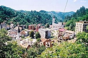 European Islam - Church and Mosque, Srebrenica, Bosnia and Herzegovina.