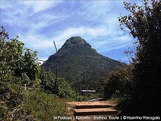 Adam's Peak - The Holy peak viewed at Adiyamalatenna Ambalama – Kuruwita-Erathna trail
