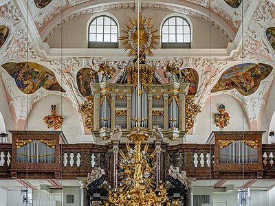 Pipe organ of the Ordenskirche St. Georgen in Bayreuth