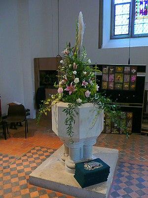 English: St. Mark's church, Wyke, font Wedding...
