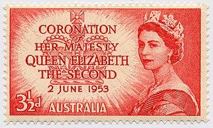 English: Australian stamp, coronation of Queen...