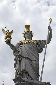 Statue of Athena, Parliament building (Vienna) 04.jpg