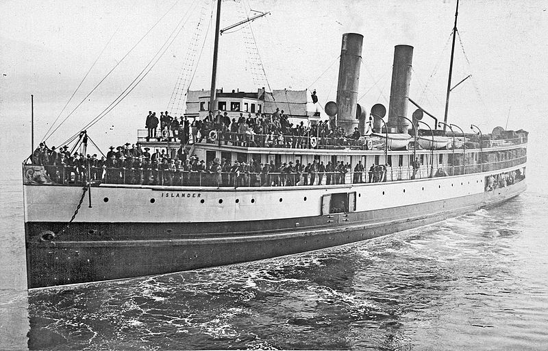 Steamship Islander leaving Vancouver, British Columbia for Skagway Bay crop.jpg