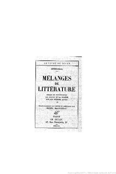 File:Stendhal - Mélanges de littérature, II, 1933, éd. Martineau.djvu