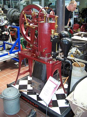 Dry animal dung fuel - Stirling-Motor powered with cow dung in the Technical Collection Hochhut in Frankfurt on Main