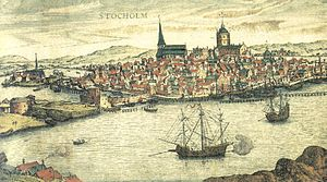1561 in Sweden - Stockholm 1560s copperplate Frantz Hogenberg