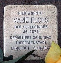 Photo of Marie Fuchs brass plaque