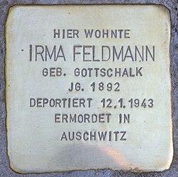 Photo of Irma Feldmann brass plaque