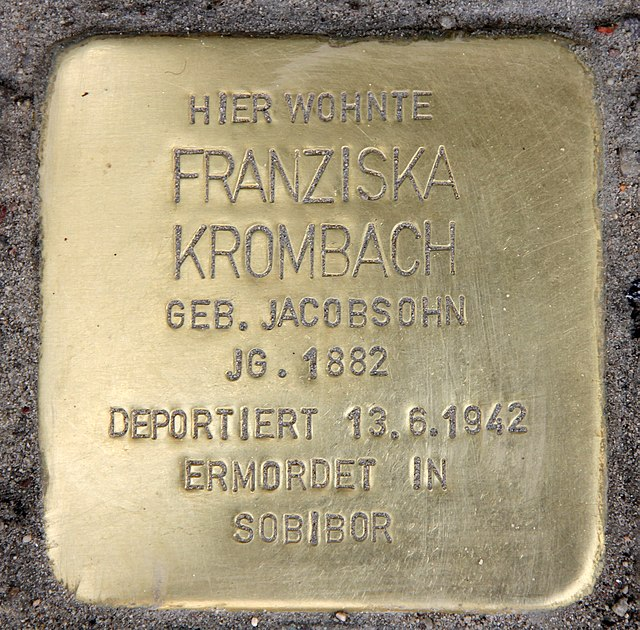 Photo of Franziska Krombach brass plaque