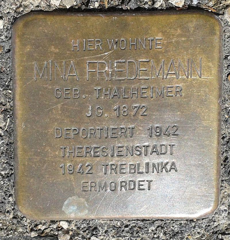 Stolperstein Hachenburg Rheinstraße 26 Mina Friedemann