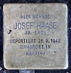 Photo of Josef Haase brass plaque