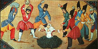 Zina - Mid-19th century illustration from Qajar Persia showing the stoning of a woman accused of adultery