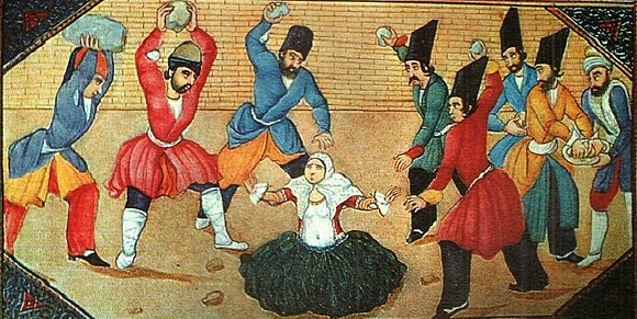 The Stoning of an Adulteress, illustration to a manuscript of 1001 Nights by Abu'l Hasan Ghaffari or his atelier. Tehran, 1853–1857