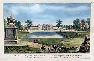 Stowe House - The north or entrance front in 1750. Major alterations were made after that date.