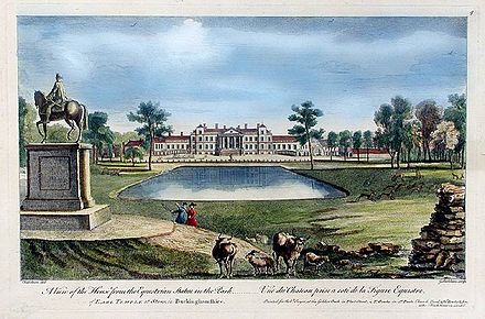 Stowe House, Buckinghamshire, the political base of the Cobham faction. In 1749 ownership of the estate passed to Grenville's brother Richard. Stowe North front in 1750 by George Bickham.jpg