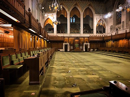 House of Commons Chamber after desks were removed for renovations, December 2018. Stripped House of Commons, December 2018.jpg