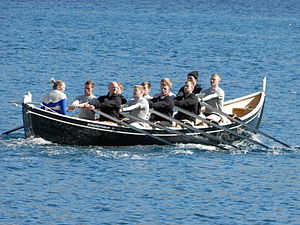 Suðuroyingur a wooden Faroese rowing boat 2012.JPG