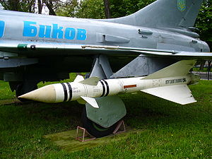 Korean Air Lines Flight 007 - K-8 missile (the type fired at KAL 007) mounted on the wing of a Sukhoi Su-15
