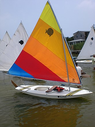 Dunewood, New York - Sunfish preparing for a race at the Dunewood Yacht Club