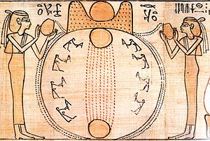Ancient Egyptian creation myths - The sun rises over the circular mound of creation as goddesses pour out the primeval waters around it