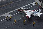 T-45C Goshawk taxies on the flight deck of the aircraft carrier USS Abraham Lincoln (CVN-72) in the Atlantic Ocean on 4 May 2018 (180504-N-ME568-1353).JPG