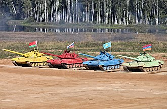 Tank biathlon - Four T-72B tanks of the participants, 2013