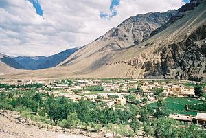 Tabo Monastery - Tabo village as viewed from the caves