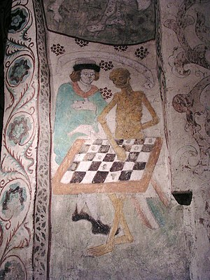 Christian mythology - Medieval painting of Death playing chess from Täby Church in Sweden