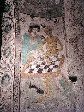Taby kyrka Death playing chess.jpg