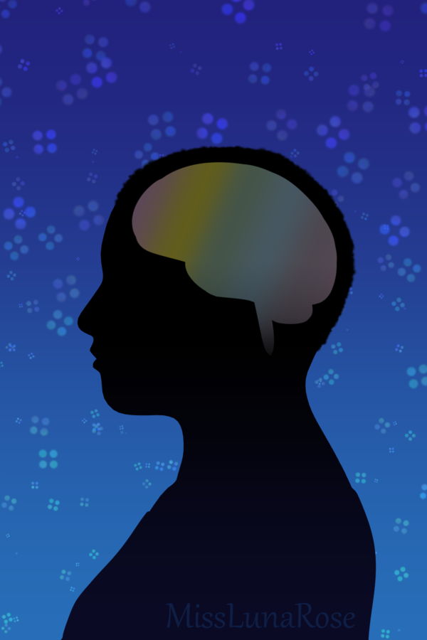 Silhouette drawing of a person with a rainbow brain