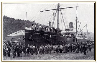 Mau movement - SS Talune in Port Chalmers graving dock in New Zealand c. 1890s