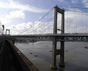 Tamar Bridge - Image: Tamar Bridge from train