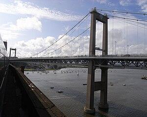 Tamar Bridge - Image: Tamar Bridge from train