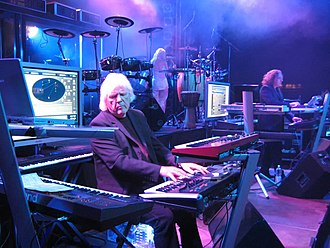 Edgar Froese - Froese (left) and Thorsten Quaeschning performing as Tangerine Dream in the marketplace at Eberswalde, Germany in 2007