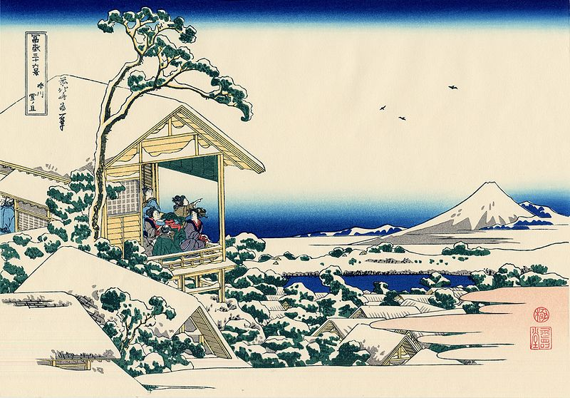 Ficheiro:Tea house at Koishikawa. The morning after a snowfall.jpg
