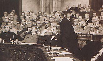 Pál Teleki - Pál Teleki in the Hungarian Parliament in June 1939