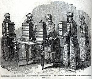 Showbread - Illustration of the temple priests replacing the shewbread each week.
