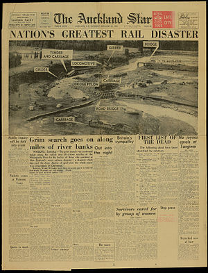 Auckland Star - Front page of 26 December 1953 reporting the Tangiwai great railway disaster