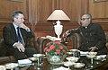 The Belgian Foreign Minister, Mr. Karel De Gucht meeting with the Union Minister of External Affairs, Shri Pranab Mukherjee, in New Delhi on November 03, 2006.jpg