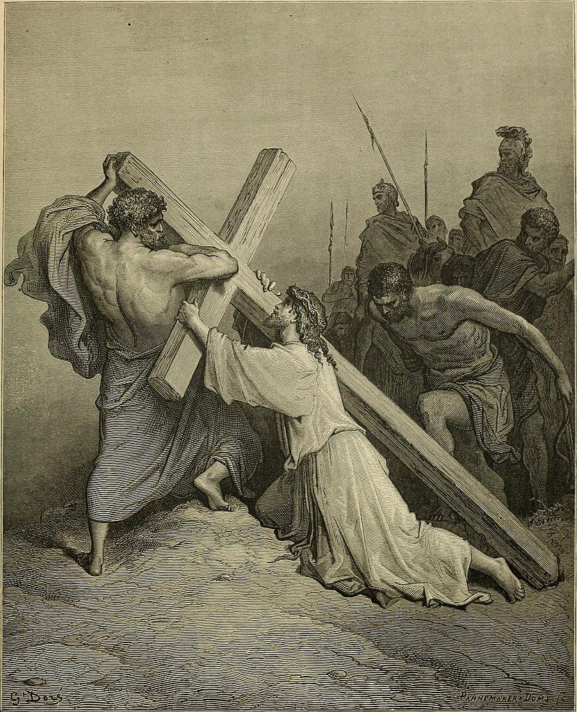 시몬이 예수님을 도와 십자가를 짐 (귀스타브 도레, Gustave Dore, 1866년)
