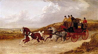 Mail coach - The Edinburgh and London Royal Mail, 1838. The guard can be seen at the back. John Frederick Herring