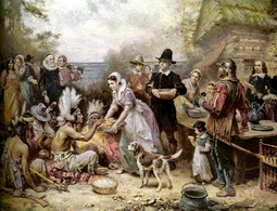 """""""The First Thanksgiving"""", painted by Jean Leon Gerome Ferris (1863–1930)."""