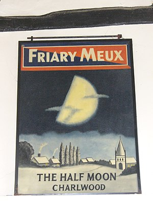 Horse Shoe Brewery - A Friary Meux pub sign at the Half Moon, Charlwood