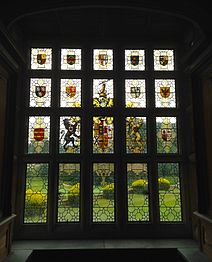 Window in the Cedar Library built by Sir Aston Webb, featuring the arms of Baron Llangattock