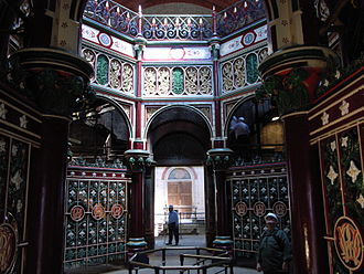 London sewerage system - Interior of the Octagon at Crossness showing its elaborate decorative ironwork, which was heavily influenced by Moorish imagery