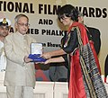 The President, Shri Pranab Mukherjee presenting the Swarna Kamal Award for Best Film Critic to Alaka Sahani, at the 61st National Film Awards function, in New Delhi on May 03, 2014.jpg