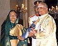 The President, Smt. Pratibha Devisingh Patil presenting the Padma Vibhushan Award to Dr. Umayalpuram K. Sivaraman, at the Civil Investiture Ceremony-II, at Rashtrapati Bhavan, in New Delhi on April 07, 2010.jpg